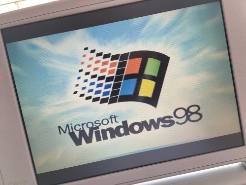 Never thought I would be happy to see this: the Windows 98 boot screen!