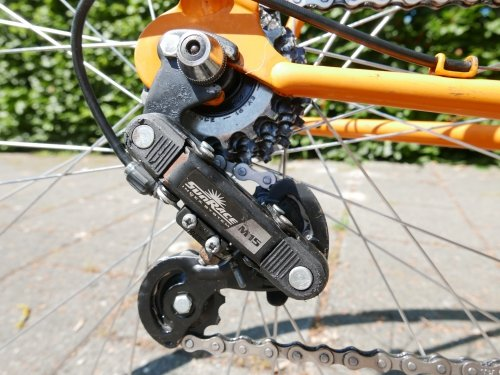 The rear derailleur was rusty and not original to this bike