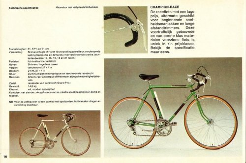 An original advertisment of the bike from the 70s - with specification of original parts