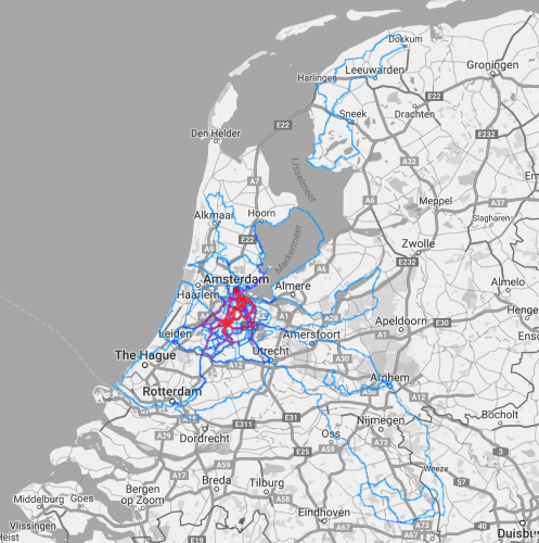 Heatmap of my bike rides in The Netherlands. Red indicates frequently driven routes.