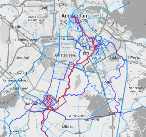 Heatmap of my bike rides in the Amsterdam area.