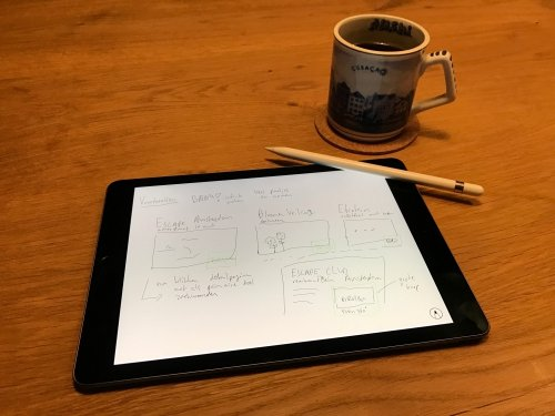 Using iPad to design something - with coffee