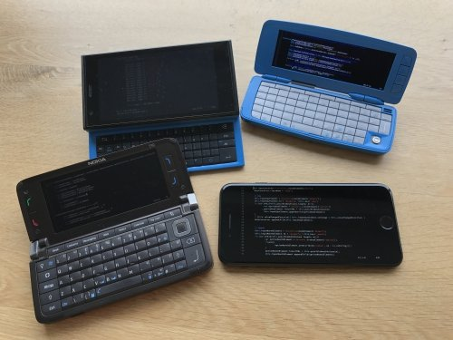 Multi platform development done properly, Nokia Communicator E90 with Symbian series 60 from 2007, Nokia 9300i running Symbian series 80 from 2004, Jolla phone with SailfishOS with the funky other half keyboard (tohkbd), and the iPhone 7.