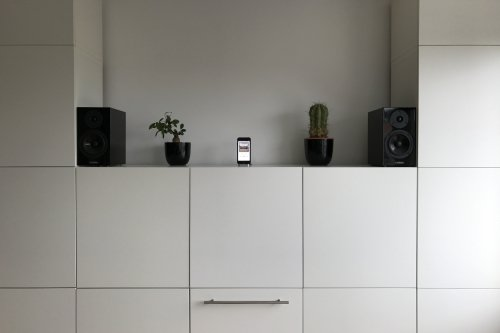 Music from the office cabinet - iPhone as a connected music player. Quite the solid rock show in combination with Apple Watch as remote.