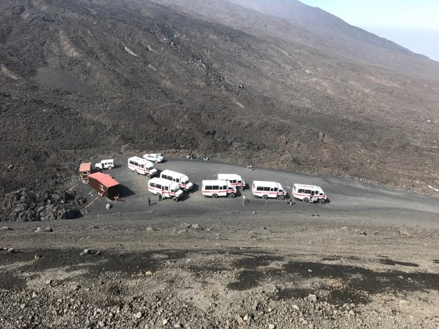 Not your typical busses. These 4x4 vehicles double as emergency escape cars in case of eruption.