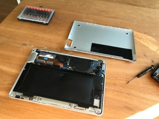 Saving a MacBook Air with a swollen battery pack.