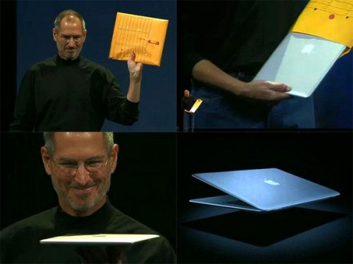 Steve Jobs unveiling the MacBook Air in 2008 from a vanilla envelope
