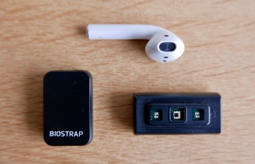 Biostrap sensors size compared to an Apple AirPod