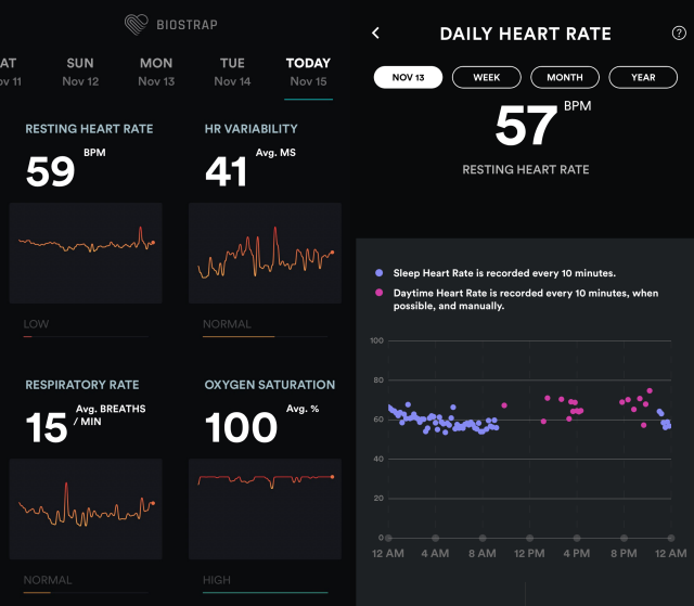 Biostrap iOS app dashboard and daily heart rate