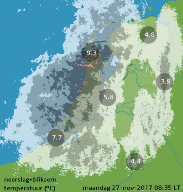 Rain radar image during test riding the Electrified S (source: knmi.nl)