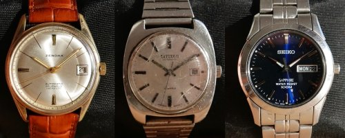 a Zerdax (from the 1960's, worth about €100), a Citizen (1970's ~ €80) and a Seiko (2008, €130)