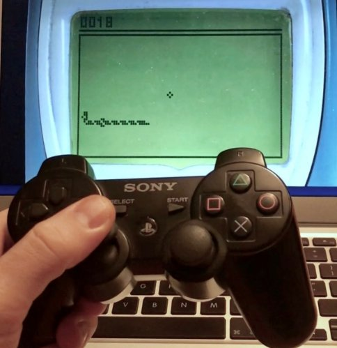 A trick the original Snake couldn't: controlling the game using a Bluetooth DualShock PlayStation controller with an analog thumbstick