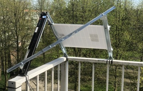 Solar panel fixed on the balcony