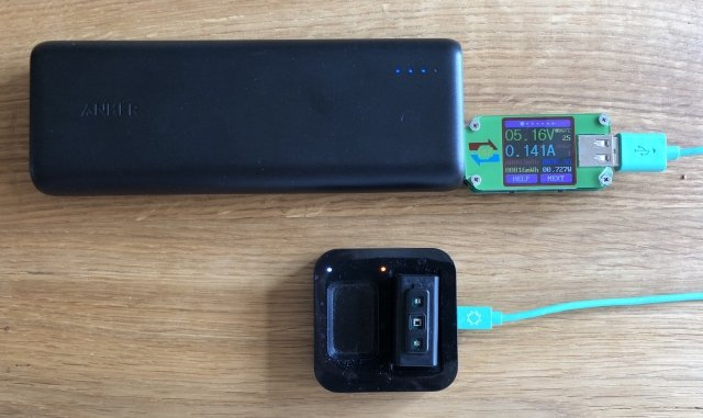 Charging Biostrap using solar energy from the Anker power bank
