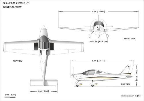 Tecnam P2002JF dimensions (source: Tecnam)