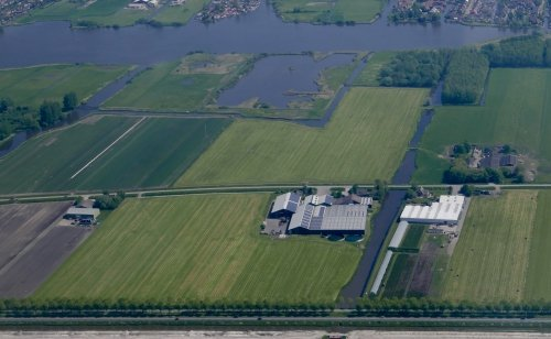 From above you can clearly spot buildings with solar panels, Smak Tulips near the N240, south of Medemblik