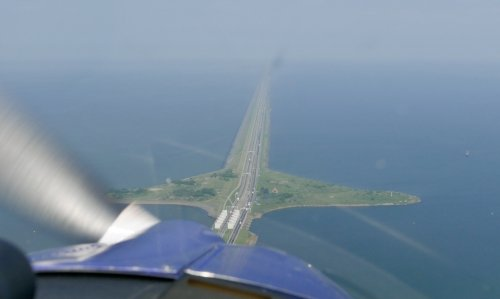 Flying over De Afsluitdijk from Den Oever to Friesland