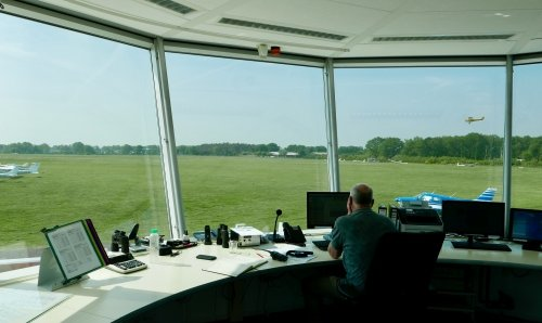 Inside the Hiversum Airport control tower.