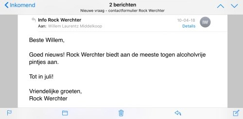Message from Rock Werchter about alcohol-free beer