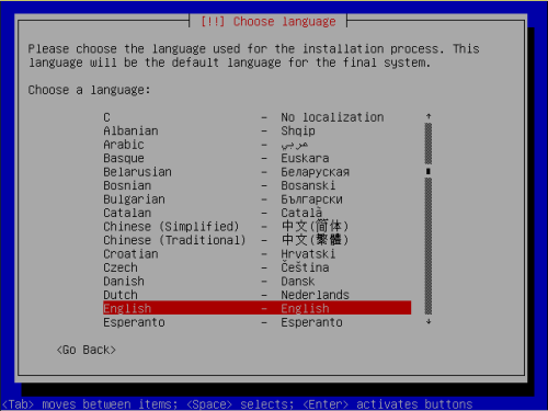 Installing Debian involves answering questions like the desired language