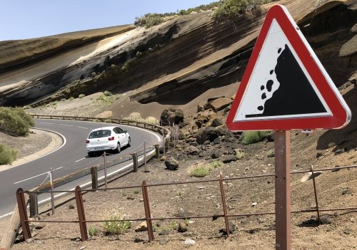Twisty roads to the top of Teide, with remarkable geological formations visible
