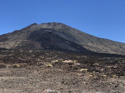 The El Chinyero vent on the Santiago Ridge, still black from the 1909 eruption