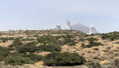 Teide Observatory with telescopes from different countries at 2390 meters altitude