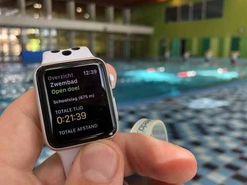 Apple Watch summary screen after swimming