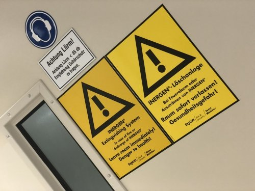 German warning signs inside the data centre (somehow they feel slightly more serious...)