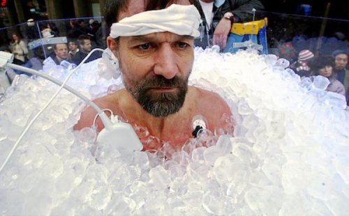 Wim Hof in ice blocks wearing sensors