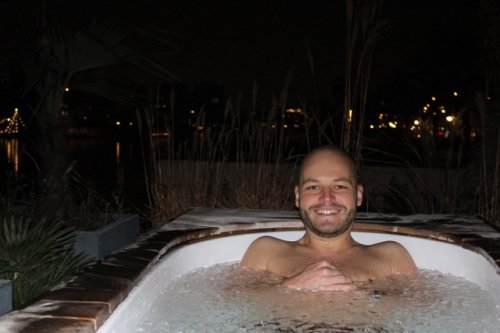 Not your typical hot tub... taking an ice bath!