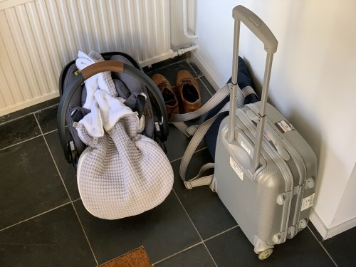 Suitcase and Maxi Cosi where ready