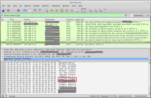 Sniff WordPress password using WireShark packet capturing (via blog.wpscans.com)