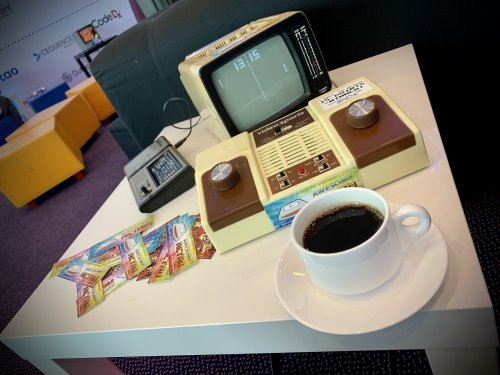 Coffee and PONG on the video-sports console with CRT monitor