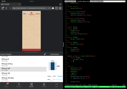 Web development on iPad using Inspect and Blink side-by-side
