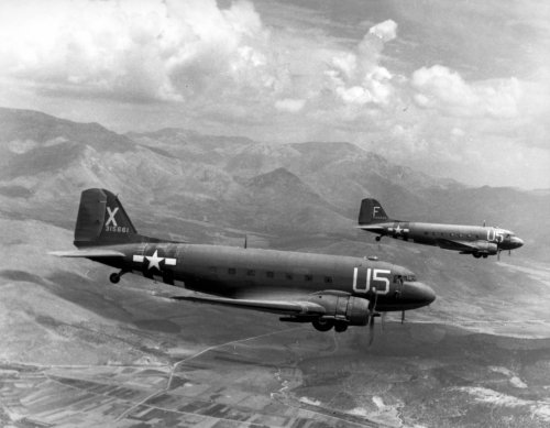 Paratroop C-47, 12th Air Force Troop Carrier Wing, during the invasion of southern France (August, 1944)