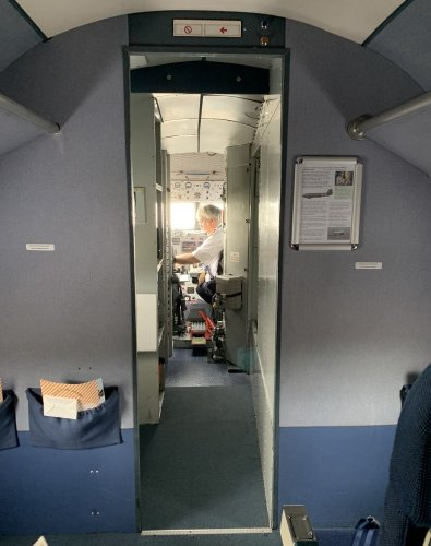Inside the cabin you have a clear view into the cockpit as there is no door separating the pilots from the passengers
