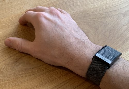 WHOOP Strap 3.0 on the wrist, no buttons, no display