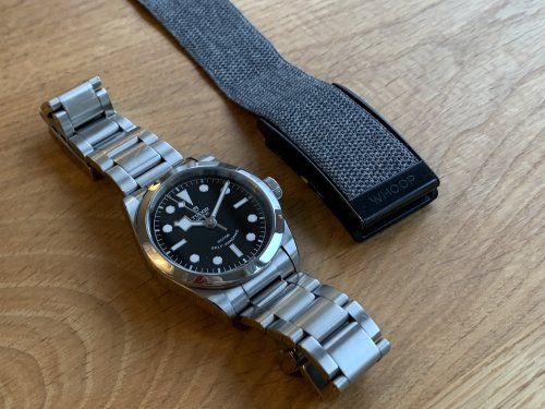 WHOOP is about the same size as a regular watch (Tudor Black Bay 36MM)