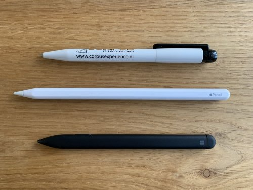The Surface Slim Pen is about the same size as a conventional pen, slightly smaller then Apple Pencil