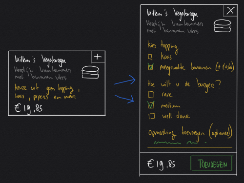 Sketching a two step interaction: differentiating between list and detail modes