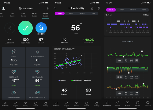 The Biostrap app shows data collected by the Biostrap sensor