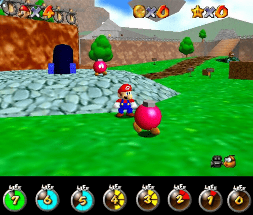 Mario 64 and a the Super Mario Galaxy life bar