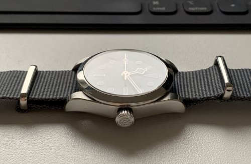 But the Oyster case is beautiful on other straps, too, like on this gray NATO