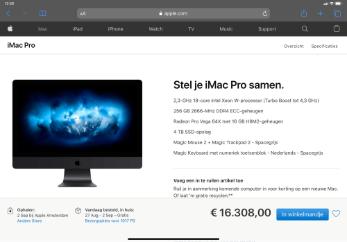 The ultimate iMac Pro, 18 cores, 256GB RAM, 4TB SSD... € 16.308!