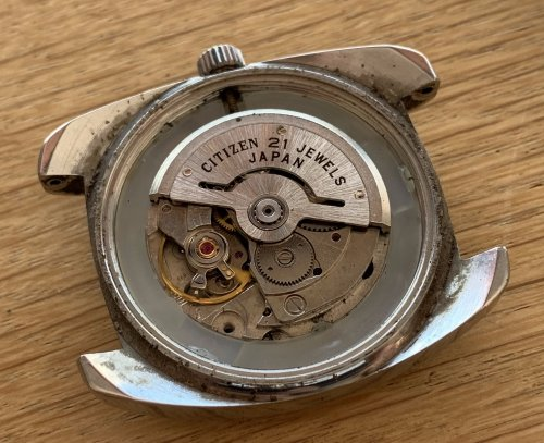 This watch has an automatic Citizen 6000 movement with 21 jewels