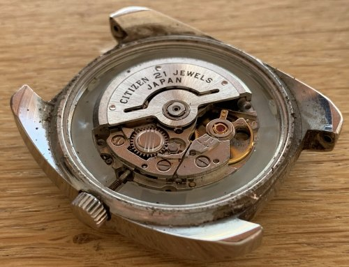 There is a rotor that winds the watch when it is moved (on the wrist), a clever system that negates the need for batteries