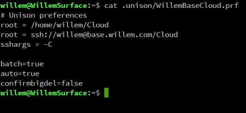 My Unison profile with parameters for the 'WillemCloud'