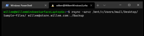 Using rsync on Windows 10 using WSL