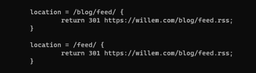 Configuring NGINX to redirect common feed URL's to the generated RSS files